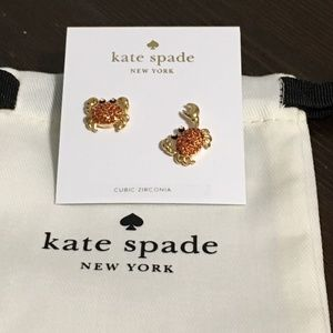 Kate Spade Shore Thing Pave Crystal Crab Earrings